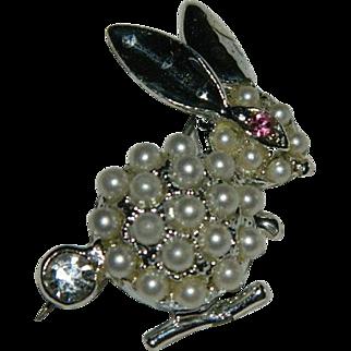 Funny Jeweled Large Bunny Rabbit Brooch