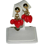Charming Red Lucite Heart Charm Dangler Earrings