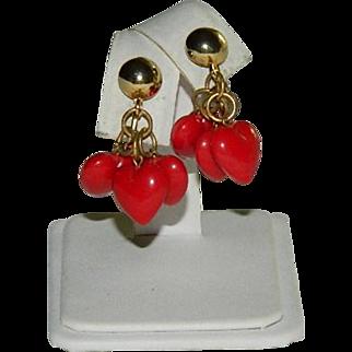 Charming Red Lucite Heart Charm Dangler Earrings