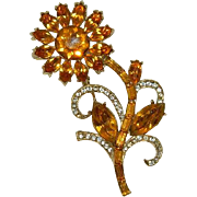 Significant Art Deco Amber Rhinestone Daisy Flower Brooch