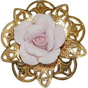 Sweet Pink Porcelain Tea Rose Brass Filigree Brooch