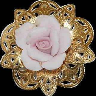 Sweet Pink Porcelain Tea Rose Brass Filigree Brooch