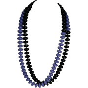 Dramatic Purple & Black Half and Half Beaded Necklace ~ 36""