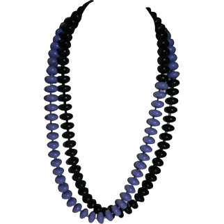 "Dramatic Purple & Black Half and Half Beaded Necklace ~ 36"""