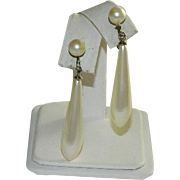 Fab Art Deco Faux Pearl Drop Pendant Earrings