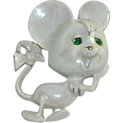 Sweet Pearly Opaque Enamel Rhinestone Mouse Brooch ~ Gerry's
