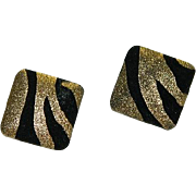"""Sexy 1980's French Lame"""" Animal Print Pierced Earrings"""