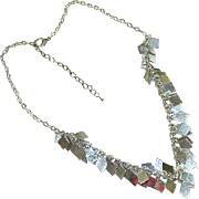 Sarah Coventry Silver Tone Charm Dangler Short Bib Necklace