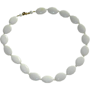 Pretty Milk Glass Hand Beaded Necklace