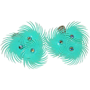 Early Celluloid Teal Feathered Rhinestone Earrings