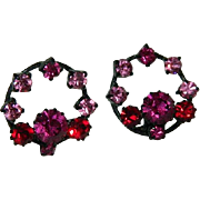 West Germany Japanned Metal Hot Pink Rhinestone Earrings on Original Card