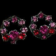 West Germany Japanned Metal Hot Pink Rhinestone Earrings on Original Card
