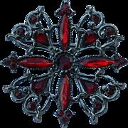 Dramatic Blood Red Rhinestone Victorian Design Brooch