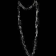 "Rich Art Deco Black Art Glass Single Strand Opera Length Necklace ~ 60"""
