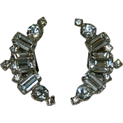 High End Old Hollywood Square Baguette Rhinestone Lobe Crawler Earrings