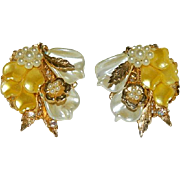 Intricate Early Celluloid Filigree Floral Spray Earrings