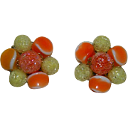Criterion Japan Art Glass Earrings in Orange Yellows