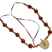 Folk Art Wooden Apple Beaded Necklace