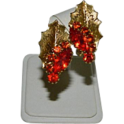 Stunning On Original Card Reddish Orange Rhinestone Leafy Earrings