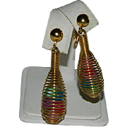 Mid Century Modern Wired Bead Bobble Earrings