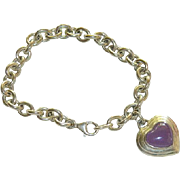 Sterling Silver Lavender Jadeite Heart Charm Bracelet