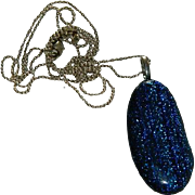 Dichroic Glass Pendant on Sterling Silver Chain ~ 28""