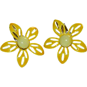 Dandelion Yellow Enamel Flower Earrings