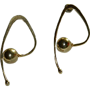 Unique Modernist Gold Tone Earrings for Pierced Ears