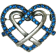 Deep Sapphire Blue Braided Heart Brooch