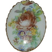 Pretty Hand Painted Floral Porcelain Brooch