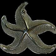 Designer Giovanni Silver Tone Star Fish Brooch
