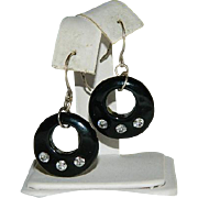 Converted Black Celluloid Rhinestone Hoop Earrings