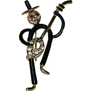 Unique Enamel & Rhinestone Figure playing Banjo Brooch Pin