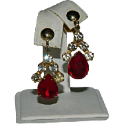 Dramatic Blood Red Huge Rhinestone Drop Dangler Earrings