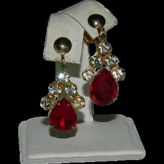 Dramatic Blood Red Huge Rhinestone Drop Dangler Earrings