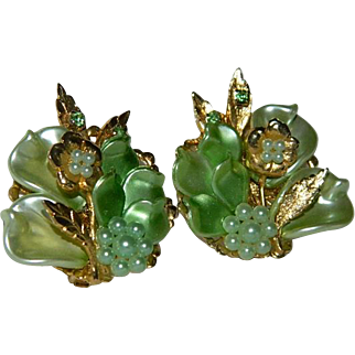 Mint Green Celluloid Filigree Rhinestone Earrings on Original Card