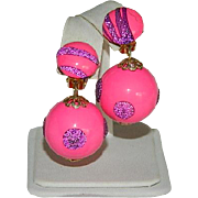 Bright Pop Pink & Purple Sparkling Bobble Earrings ~ Hong Kong