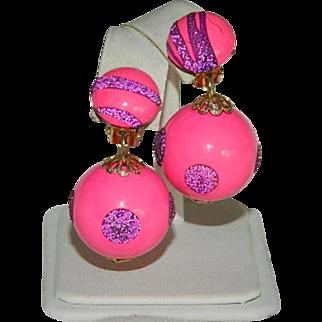Bright Pop Pink & Purple Sparkling Bobble Earrings ~ Hong Kong