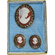 Lovely Japan Celluloid Cameo Brooch & Earrings in Original Box