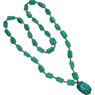 Vintage Egyptian Revival Heavy Stone Scarab Necklace w/Pendant