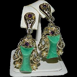 Rare! Selro Selini Green Swirl Glass Etruscan Revival Earrings