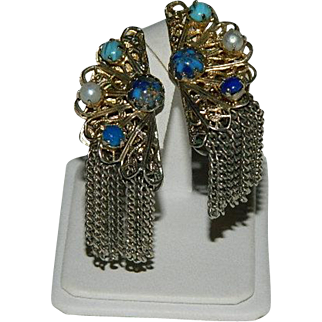 Opulent Selro Selini Etruscan Revival Filigree Art Glass Earrings