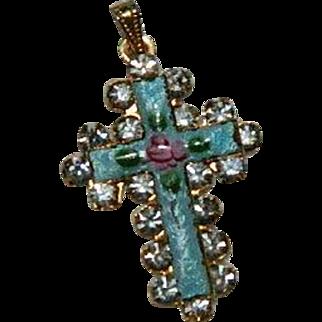 Antique Guilloche Enamel Rhinestone Cross Pendant