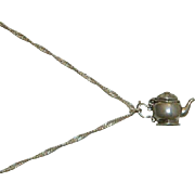 """Darling Sterling Silver Tea Pot Charm  Pendant on Sterling 18"""" Chain"""