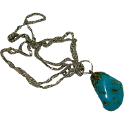 Sterling Silver Natural Turquoise Stone Pendant