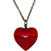 Dramatic Red Art Glass Heart Pendant on Sterling Silver Chain