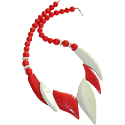 Funky Red & White Lucite Bib Beaded Necklace