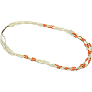 1970's Mother of Pearl & Coral Beaded Torsade Necklace