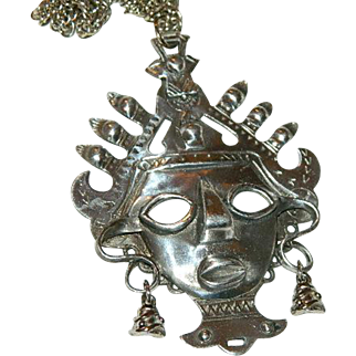 "Vintage Silver Tone Mayan Tribal Face Pendant on Original Chain 24"" ~ A"