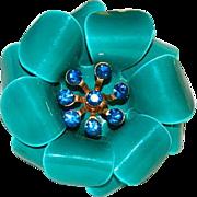Sparkling Rhinestone Teal Green Enamel Flower Brooch